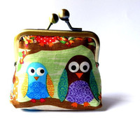 Owl coin purse on branches green brown colorful by SeventhSphere