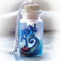 Nightmare Before Christmas bottle necklace, inspired by Tim Burton