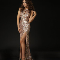 Gold Sequin Embellished Key Hole Open Back Evening Gown - Unique Vintage - Prom dresses, retro dresses, retro swimsuits.