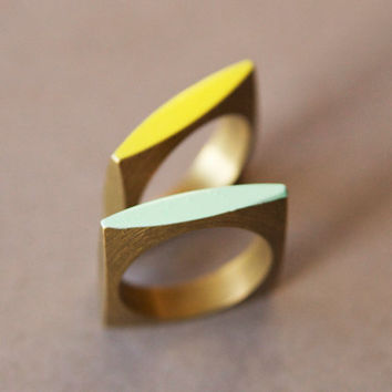 Neon Geometric Square Ring - Available in 9 Colors