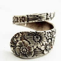Antique Stieff Floral Sterling Silver Spoon Ring Made by Spoonier