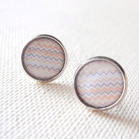 Pastel Earring Studs - Peach Gray Earring Posts - Chevron Jewelry - Pastel Jewelry