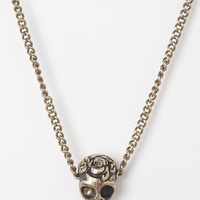 Urban Outfitters - Flower Skull Necklace