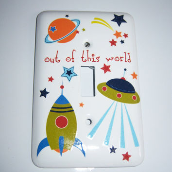 Space themed single light switch cover
