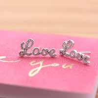 LOVE stud earrings with crystals, 2 colors | girlsluv.it