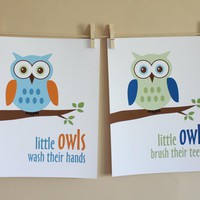 Bathroom Art, Little Owls Wash Hands And Brush Teeth (Boy)