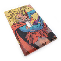 Comic book light switch cover supergirl by summittdesigns on Etsy