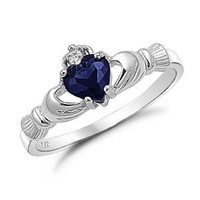 Amazon.com: Sterling Silver Blue Sapphire Heart CZ Claddagh Ring Sizes 4 to 9, 4: Jewelry