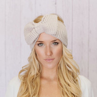 Knitted Bow Headband LARGE Bow Ear Warmer in Vanilla Latte Taupe Knitted Earwarmer in Light Tan