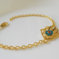 Gold plated brass hamza bracelet