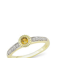ideeli | ICE.COcxxxcM Diamond and Yellow Sapphire Solitare Ring