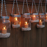 Mason Jar Lanterns Hanging Tea Light Luminaries - Set of 6