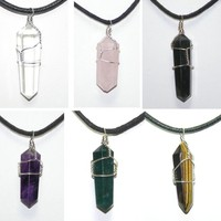 "Healing Quartz Crystal Double Terminated Point Wire Wrapped on 34"" Cord Necklace"