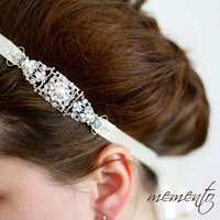 Cara Swarovski Rhinestones and Pearls Ribbon Headband by MyMEMENTO