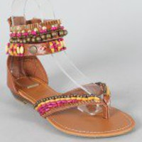Bamboo Poppy-88 Beaded Thong Flat Sandal
