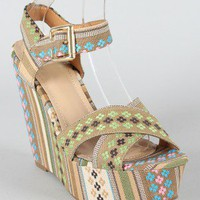 Breckelle Leslie-04 Tribal Print Criss Cross Open Toe Wedge