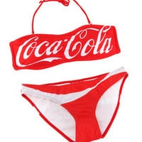Red Coca-Cola Print Bandeau Top Low Rise Bikini Size M