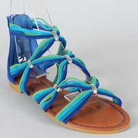 Bamboo Eartha-04 Multicolor Strappy Open Toe Flat Sandal