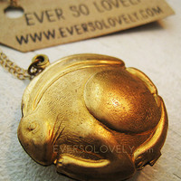 Vintage Brass Rabbit Locket on 14K Gold Chain by eversolovely