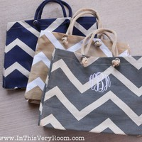 Monogrammed Chevron Stripes Jute Tote Bag - Personalized Chevron Stripes Tote Bag