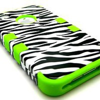 Apple iPhone 4 4S Phone Hybrid Tuff Heavy Duty Zebra Hard Case+Green Skin Cover