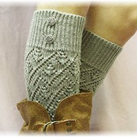 LW28 Grey Pointelle patterned legwarmers