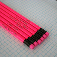 mean girls assorted engraved pencil set 6 hot pink pencils. hot hot pink. that&#x27;s So fetch. I know right