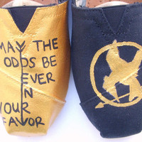The Fighter  Gold and Black Custom TOMS by FruitfulFeet on Etsy