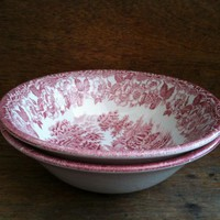 Vintage English 2 Red And White Bowls