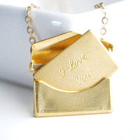 Brass Envelope Necklace I love you envelope by paperfacestudio
