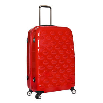 Red Hard Sided Lips Large Spinner Case