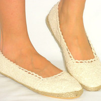 Soft *Lacy Woven Crochet* Espadrille Ballet Flats* Breathable Lining*