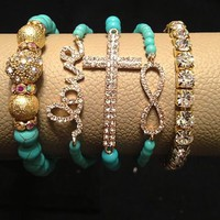 ARM CANDY=SET OF 5 GOLD/TURQUOISE-LOVE CROSS INFINITY&RHINESTONE