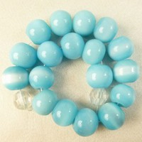 Aqua Blue Colored Round Glass Beads 8mm Set of 18
