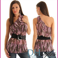 Miso-167-Lavender-Brown Sheer One Shoulder Animal Print Top w Belt