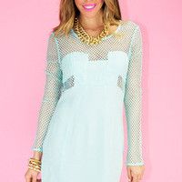 NET CUTOUT DRESS -Mint