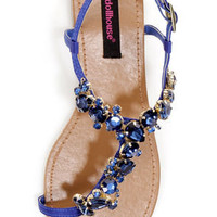 Dollhouse Radiant Indigo Blue Rhinestone Studded Thong Sandals
