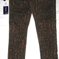 ana ANIMAL PRINT SKINNY JEANS PANTS 8 STRETCH LEOPARD BROWN BLACK EUC a.n.a.