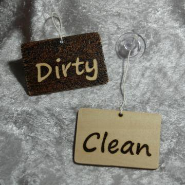 Clean Dirty Hanging Dishwasher sign by breathofthedragon on Zibbet