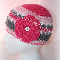 Pink and grey flower beanie