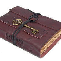 Burgundy Leather Journal with Tea Stained Pages and Key Bookmark