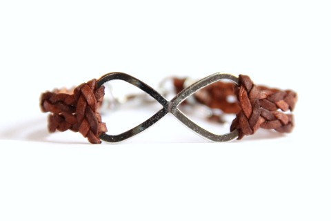 Infinity  Braided Brown Leather and Silver Clasp by MesaBlue