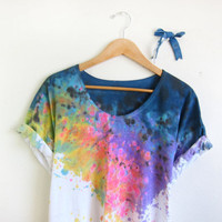 Splash Dyed Hand PAINTED Scoop Neck