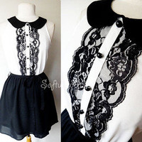 NEW Black/White CUTE Peterpan Collar Lace Button Trim Urban CHIC Contrast Dress
