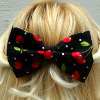 Black and red cherry bow hair clip - big bow - barrette - kawaii - retro