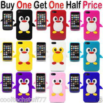 x2 Cover FOR Apple iPhone 5 G Silicone Gel Rubber Cute Penguin Animal Phone Case