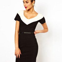 Hybrid Illusion Pencil Dress With V Neck and Belt at asos.com