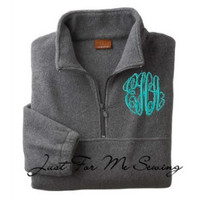 Monogrammed Fleece Pullover-Half-zip pullover jacket