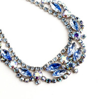 Vintage Blue Rhinestone Stone Necklace - Silver Tone Aurora Borealis Costume Jewelry / Icy Blues