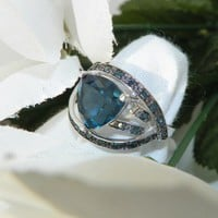 London Blue Topaz Trillion Gemstone Blue Diamond Jewelry Ring